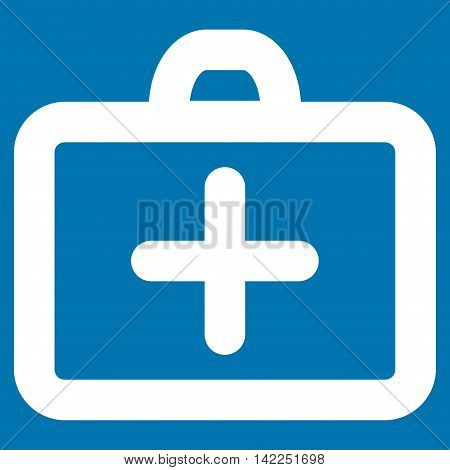 First Aid vector icon. Style is stroke flat icon symbol, white color, blue background.