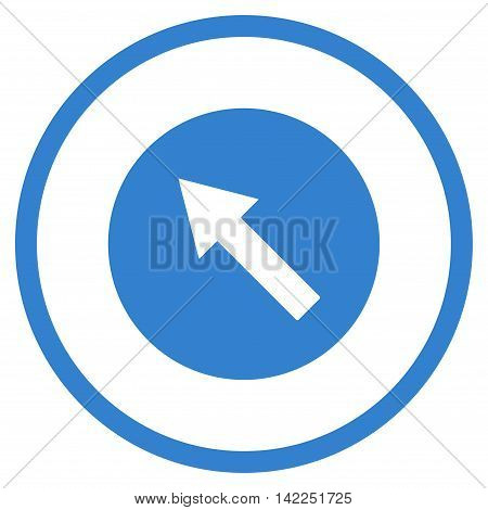 Up-Left Rounded Arrow vector icon. Style is flat rounded iconic symbol, up-left rounded arrow icon is drawn with cobalt color on a white background.