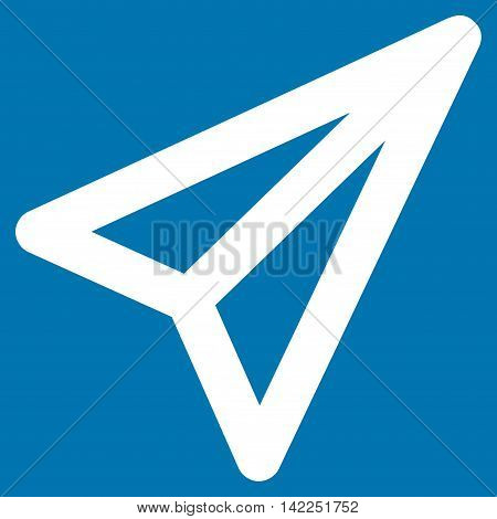 Freelance vector icon. Style is linear flat icon symbol, white color, blue background.