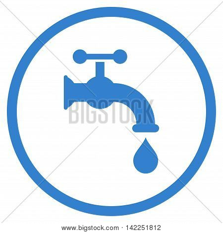 Water Tap vector icon. Style is flat rounded iconic symbol, water tap icon is drawn with cobalt color on a white background.