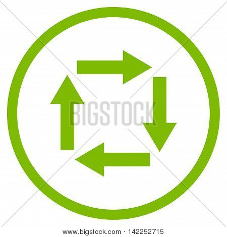 Circulation Arrows vector icon. Style is flat rounded iconic symbol, circulation arrows icon is drawn with eco green color on a white background.