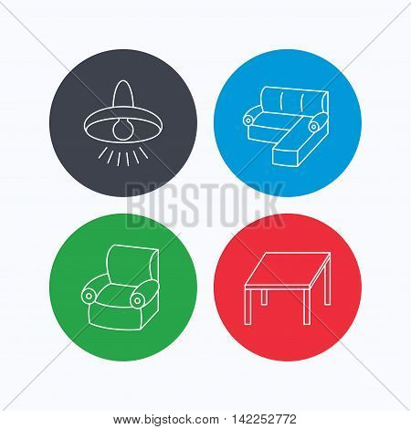 Corner sofa, table and armchair icons. Ceiling lamp linear signs. Linear icons on colored buttons. Flat web symbols. Vector