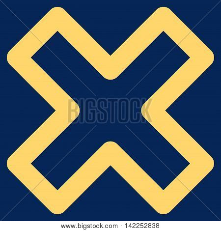 Delete X-Cross vector icon. Style is stroke flat icon symbol, yellow color, blue background.