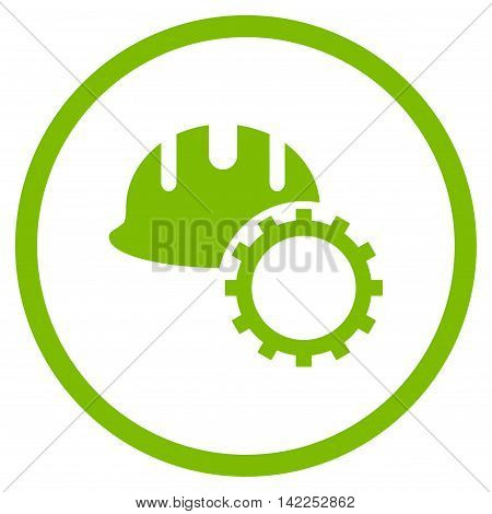 Development Hardhat vector icon. Style is flat rounded iconic symbol, development hardhat icon is drawn with eco green color on a white background.