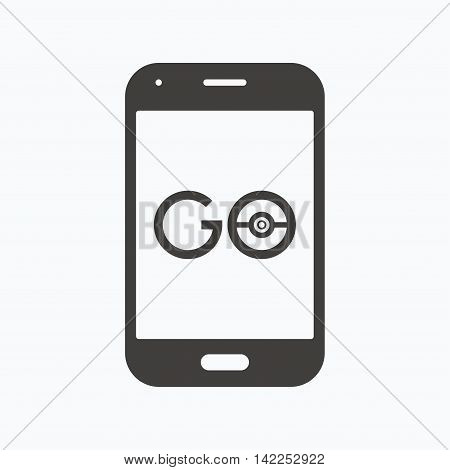 Smartphone game icon. Go symbol. Pokemon game concept. Gray flat web icon on white background. Vector