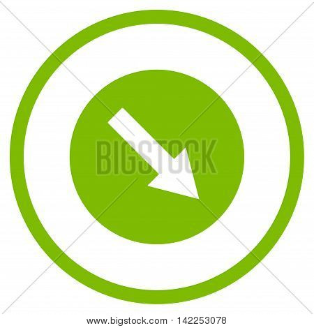 Down-Right Rounded Arrow vector icon. Style is flat rounded iconic symbol, down-right rounded arrow icon is drawn with eco green color on a white background.