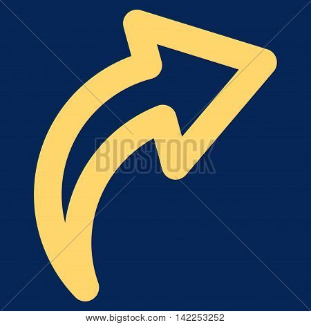 Redo vector icon. Style is outline flat icon symbol, yellow color, blue background.