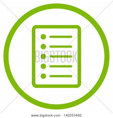 List Page vector icon. Style is flat rounded iconic symbol, list page icon is drawn with eco green color on a white background.