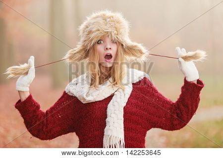 Surprised Pretty Fashion Woman In Fur Winter Hat