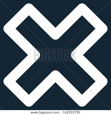 Delete X-Cross vector icon. Style is outline flat icon symbol, white color, dark blue background.