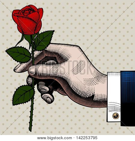 Hand with a red rose. Retro style valentine greeting card design. Vintage color engraving stylized drawing. Vector illustration