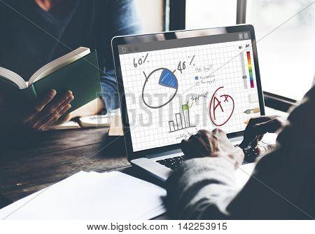 Pie Chart Graph Analysing Data Concept