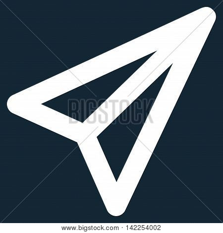 Freelance vector icon. Style is outline flat icon symbol, white color, dark blue background.