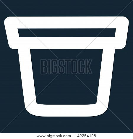 Pail vector icon. Style is outline flat icon symbol, white color, dark blue background.