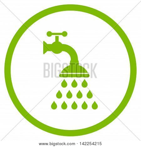 Shower Tap vector icon. Style is flat rounded iconic symbol, shower tap icon is drawn with eco green color on a white background.