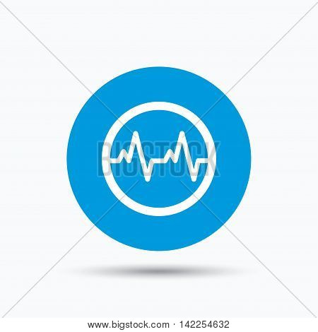 Heartbeat icon. Cardiology symbol. Medical pressure sign. Blue circle button with flat web icon. Vector