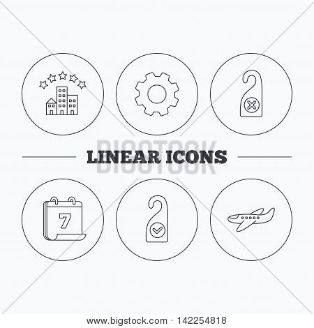 Hotel, airplane and do not disturb icons. Clean room linear sign. Flat cogwheel and calendar symbols. Linear icons in circle buttons. Vector