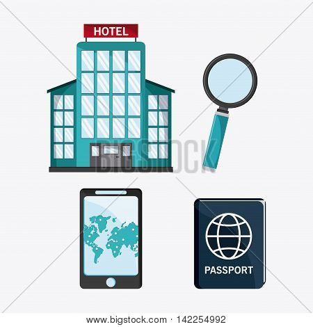 smartphone hotel map passport lupe time to travel vacations trip icon. Colorfull illustration. Vector graphic