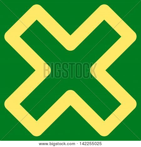 Delete X-Cross vector icon. Style is outline flat icon symbol, yellow color, green background.