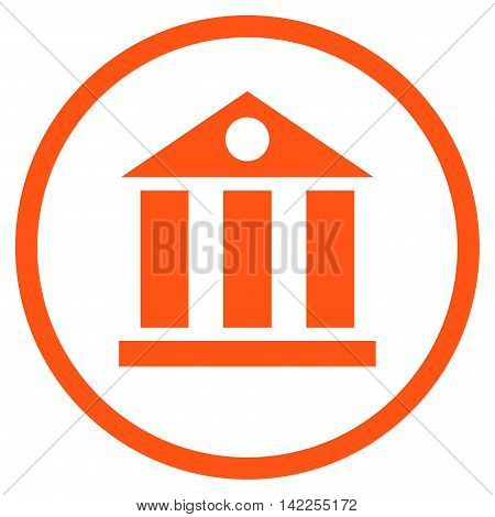 Bank Building vector icon. Style is flat rounded iconic symbol, bank building icon is drawn with orange color on a white background.