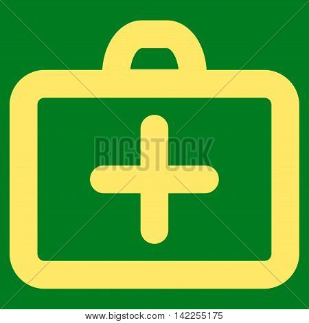 First Aid vector icon. Style is outline flat icon symbol, yellow color, green background.
