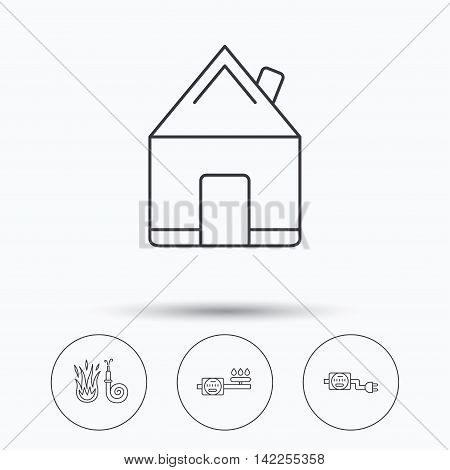 Real estate, fire hose and gas counter icons. Electricity counter linear sign. Linear icons in circle buttons. Flat web symbols. Vector