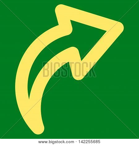 Redo vector icon. Style is contour flat icon symbol, yellow color, green background.