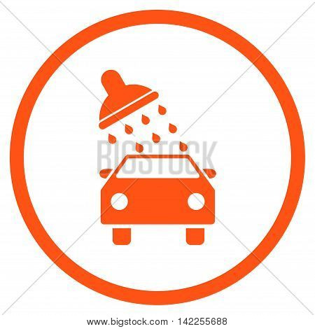 Car Wash vector icon. Style is flat rounded iconic symbol, car wash icon is drawn with orange color on a white background.