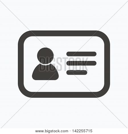 ID card icon. Personal identification document symbol. Gray flat web icon on white background. Vector