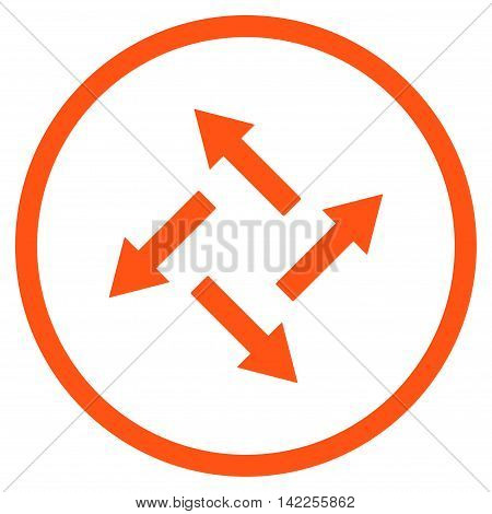 Centrifugal Arrows vector icon. Style is flat rounded iconic symbol, centrifugal arrows icon is drawn with orange color on a white background.