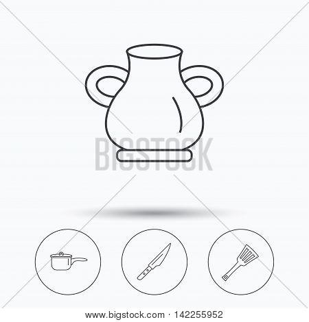 Saucepan, kithcen knife and utensils icons. Vase linear sign. Linear icons in circle buttons. Flat web symbols. Vector
