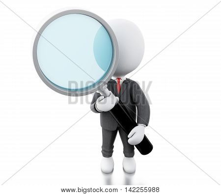 3d illustration. Business people. Businessman examines through a magnifying glass. Isolated white background
