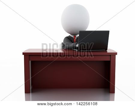 3d illustration. White business people working at office. Business concept Isolated white background