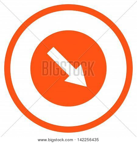 Down-Right Rounded Arrow vector icon. Style is flat rounded iconic symbol, down-right rounded arrow icon is drawn with orange color on a white background.