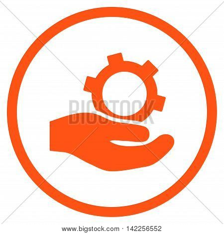 Engineering Service vector icon. Style is flat rounded iconic symbol, engineering service icon is drawn with orange color on a white background.