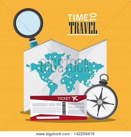map ticket compass lupe searching time to travel vacations trip icon. Colorfull illustration. Vector graphic
