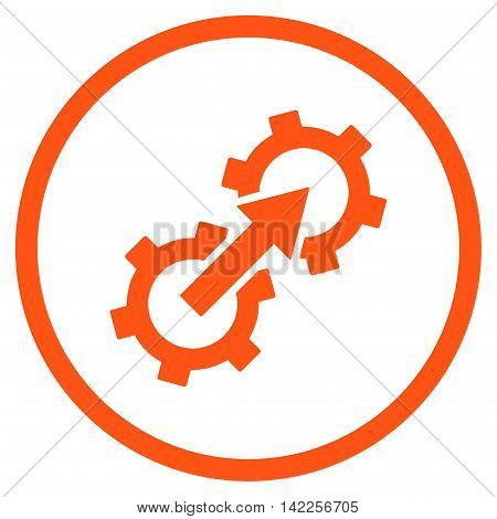 Gear Integration vector icon. Style is flat rounded iconic symbol, gear integration icon is drawn with orange color on a white background.