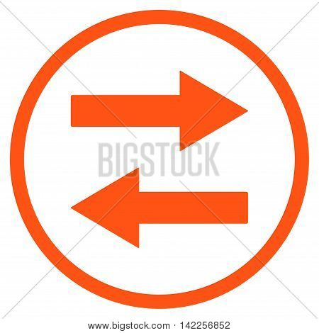 Horizontal Flip Arrows vector icon. Style is flat rounded iconic symbol, horizontal flip arrows icon is drawn with orange color on a white background.