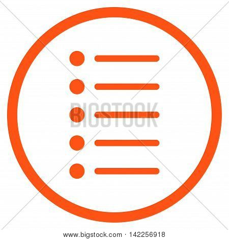 Items vector icon. Style is flat rounded iconic symbol, items icon is drawn with orange color on a white background.