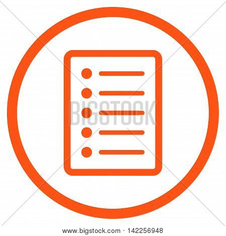 List Page vector icon. Style is flat rounded iconic symbol, list page icon is drawn with orange color on a white background.