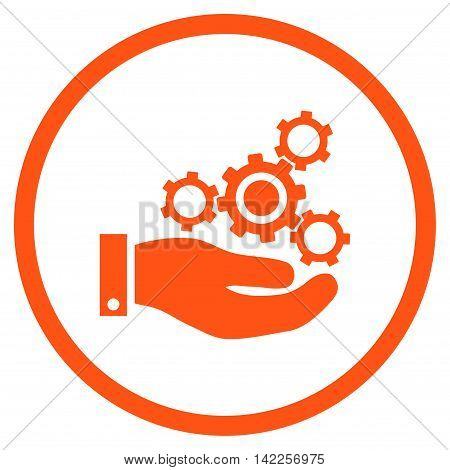 Mechanics Service vector icon. Style is flat rounded iconic symbol, mechanics service icon is drawn with orange color on a white background.