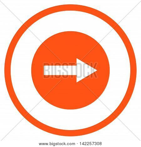 Right Rounded Arrow vector icon. Style is flat rounded iconic symbol, right rounded arrow icon is drawn with orange color on a white background.