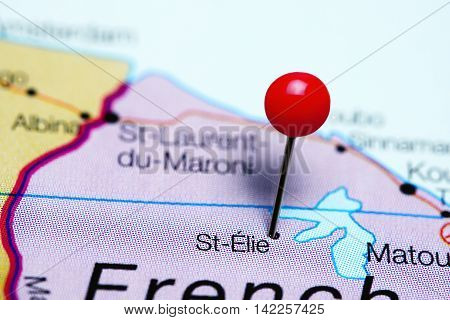 St-Elie pinned on a map of French Guiana