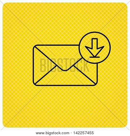 Mail inbox icon. Email message sign. Download arrow symbol. Linear icon on orange background. Vector