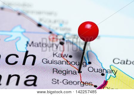 Regina pinned on a map of French Guiana
