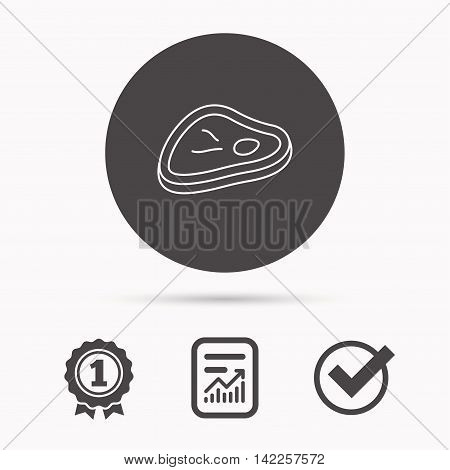 Meat icon. Beef steak sign. Barbecue meat slice symbol. Report document, winner award and tick. Round circle button with icon. Vector