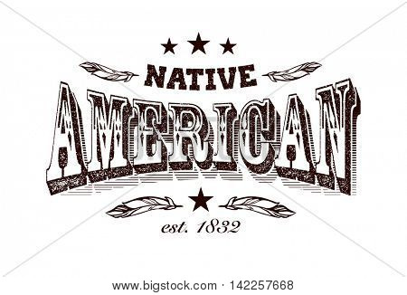 native american company label template, stylized vector illustration, element for your design.