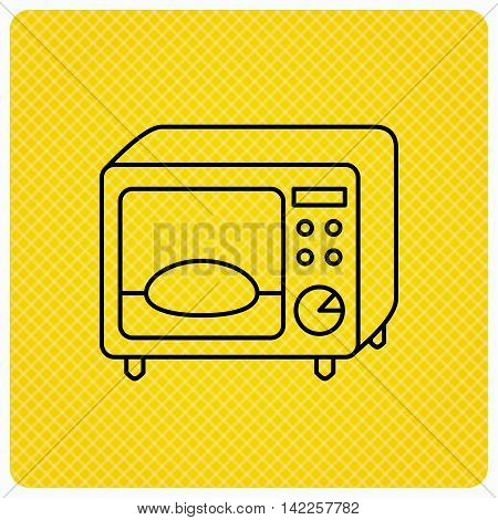 Microwave oven icon. Kitchen appliance sign. Linear icon on orange background. Vector