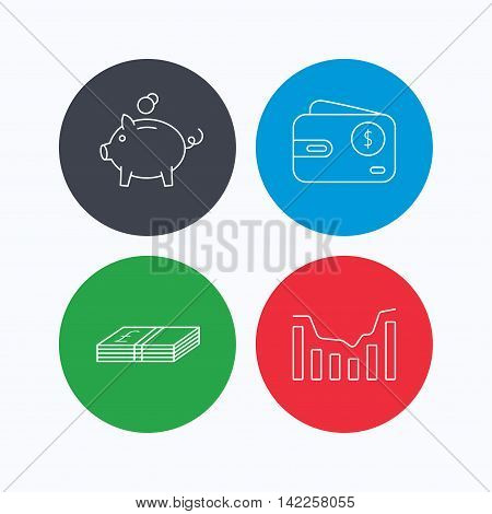 Piggy bank, cash money and dynamics chart icons. USD wallet linear sign. Linear icons on colored buttons. Flat web symbols. Vector