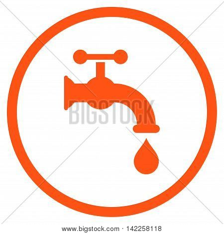 Water Tap vector icon. Style is flat rounded iconic symbol, water tap icon is drawn with orange color on a white background.